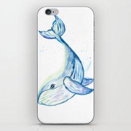 Cute whale watercolor iPhone Skin