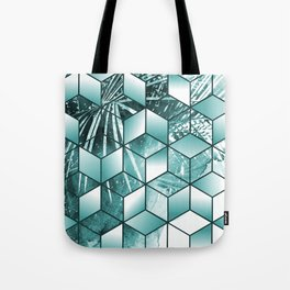 Tropical Cubic Effect Palm Leaves Design Tote Bag