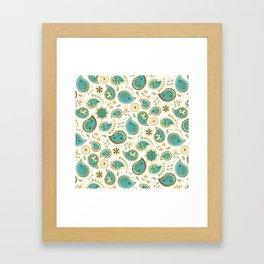Hedgehog Paisley_Teal BgWhite Framed Art Print