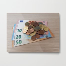 Euro Coins and Bills Metal Print
