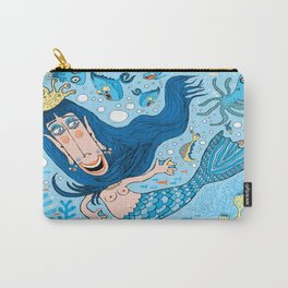 Quirky Mermaid with Sea Friends, Blue version Carry-All Pouch
