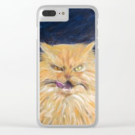 Angry Cat Clear iPhone Case
