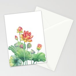 Pink Egyptian lotus flower with leaves and seed head and bud Stationery Cards