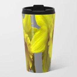 YELLOW DAFFODILS CHARCOAL GREY FLORAL Travel Mug