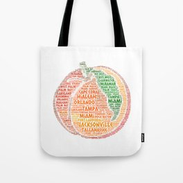 Peach Fruit illustrated with cities of Florida State USA Tote Bag
