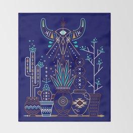 Santa Fe Garden – Navy Throw Blanket