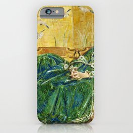 Frederick Childe Hassam - April, The Green Gown - Digital Remastered Edition iPhone Case