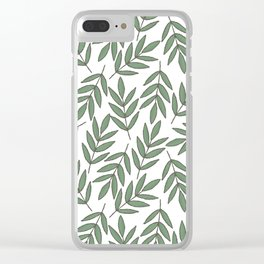 Vintage green white foliage leaves floral pattern Clear iPhone Case