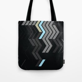 Deconstructed Chevron C – Gray / Gold / Blue Abstract Pattern Tote Bag