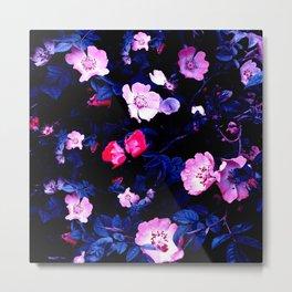 Bold Blue And Pastel Pink Blush Floral Metal Print