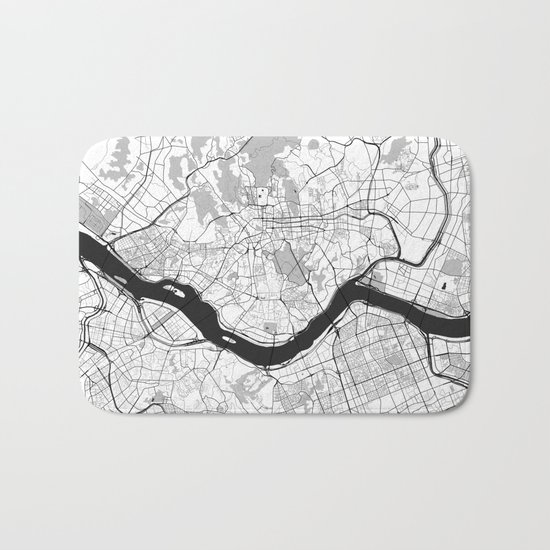 Seoul Map Gray Bath Mat