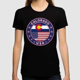 Colorado, Colorado t-shirt, Colorado sticker, circle, Colorado flag, white bg T-shirt