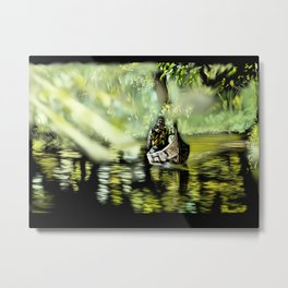 58 - Canoe through backwaters, sunny Alleppey, Kerala Metal Print