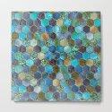 Blue & green metal glitter geometric hexagonal honeycomb pattern by betterhome