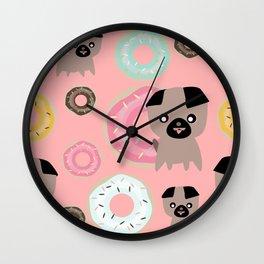 Pug and donuts pink Wall Clock