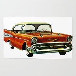 Vintage 1957 Red Bel Air Sport Sedan Rug