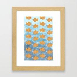 Cute Repeating Gold Fish Framed Art Print