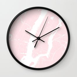 New York City Pink on White Street Map Wall Clock