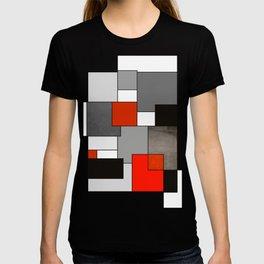 Modern Geometric Red and Black T-shirt