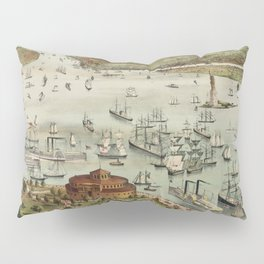 Vintage Pictorial Map of The Port of New York Pillow Sham