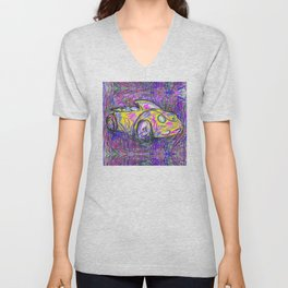 Expressive Bright Yellow V W Beetle created under the influence of Caffine by annmariescreations Unisex V-Neck