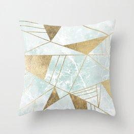 Modern blush green faux gold marble triangles stripes Throw Pillow