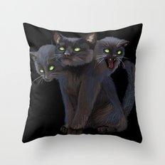 3 HEADED KITTY Throw Pillow