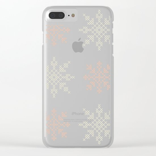 Snowflakes Cross Stitch Pattern (Mint) Clear iPhone Case