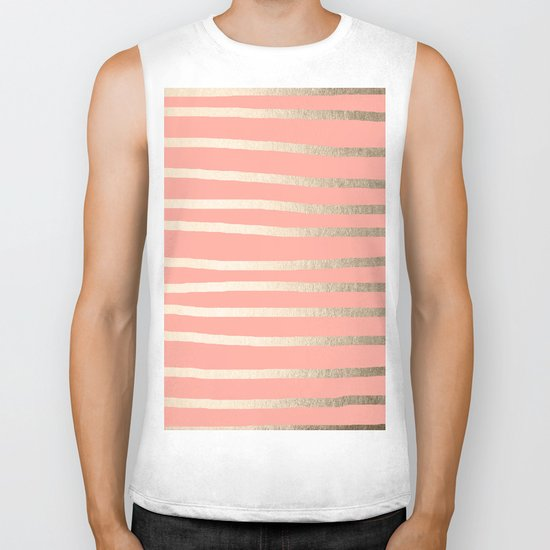 Simply Drawn Stripes in White Gold Sands and Salmon Pink Biker Tank