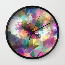 colorful geometric triangle pattern abstract background in pink blue yellow Wall Clock