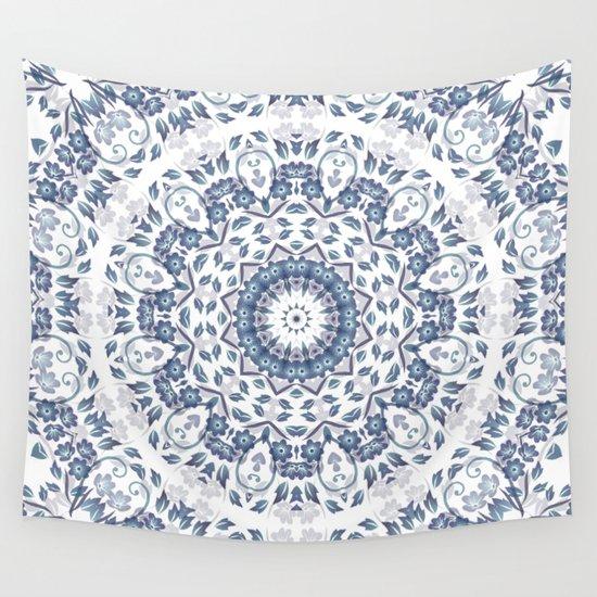 Grayish Blue White Flowers Mandala by ninabaydur