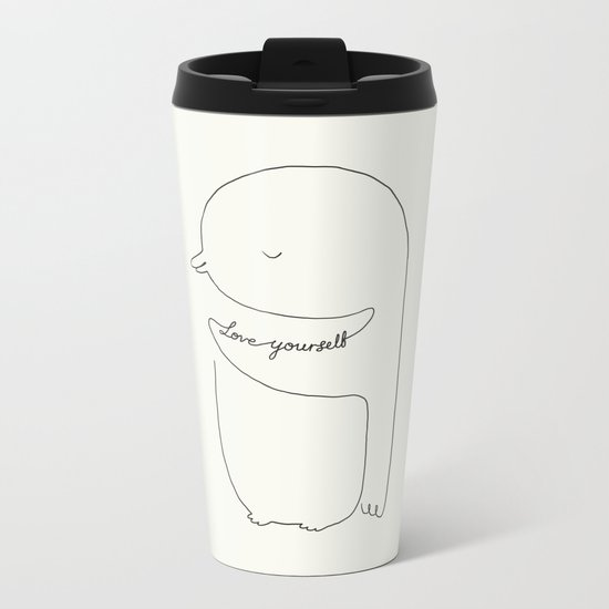Love Yourself Penguin Metal Travel Mug