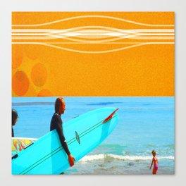 three surfers Canvas Print