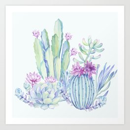 Mixed Cacti Light Blue #society6 #buyart Art Print