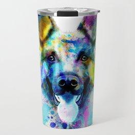 German Shepherd Watercolor, Watercolor Dog print, German Shepherd Print, German Shepherd Art Travel Mug