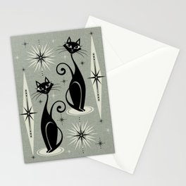 Mid Century Meow Retro Atomic Cats - Gray Stationery Cards