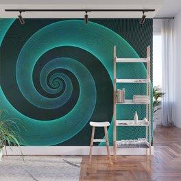 Magical Teal Green Spiral Design Wall Mural