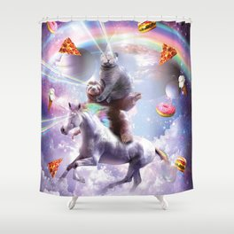 Laser Eyes Space Cat On Sloth Unicorn - Rainbow Shower Curtain
