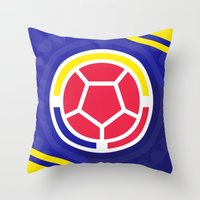 colombia Throw Pillows featuring Seleccion Colombia by DAN LOZ
