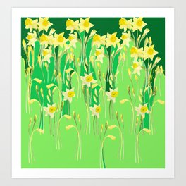 Daffodils in green Art Print