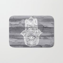 White hand drawn Hamsa hand of fatima on wood  Bath Mat