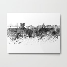 Copenhagen skyline in black watercolor Metal Print