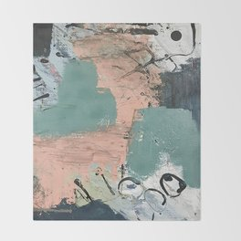 13th and Grant: an abstract mixed media piece in peach green blue and white Throw Blanket