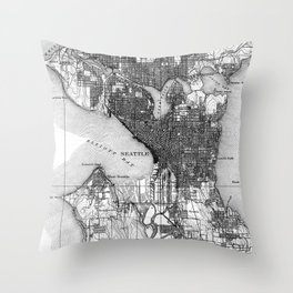 Vintage Map of Seattle Washington (1908) BW Throw Pillow