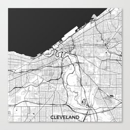 Cleveland Map Gray Canvas Print