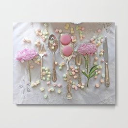 Shabby Chic Peonies Macarons and Vintage Spoon Kitchen Art Metal Print
