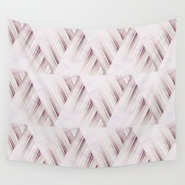 Abstract geometric pattern.Pinkish beige striped triangles . Wall Tapestry
