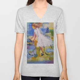 Girl and bicycle Unisex V-Neck