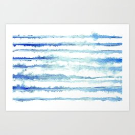 Abstract Watercolor Stripe Blue and White 08 Art Print