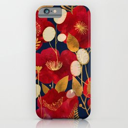 Moody floral camellias and honesty iPhone Case